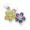 Sterling Silver Amethyst & Peridot Floral Pendant
