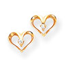 14k Yellow Gold AA Diamond Heart Post Earrings