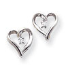 14k White Gold AA Diamond Heart Earrings