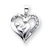 14k White Gold Mother & Baby Diamond Heart Pendant