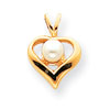 14k Pearl Diamond heart pendant