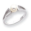 14k White Gold Pearl & Diamond Ring