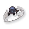 14k White Gold 6mm Black Pearl ring